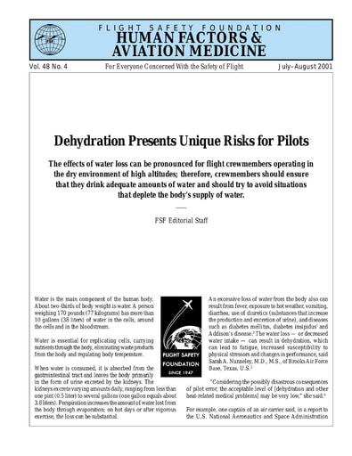 Dehydration Presents Unique Risks for Pilots