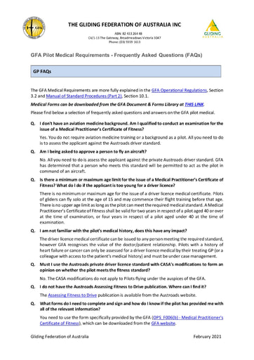 GFA Pilot Medical Requirements - Frequently Asked Questions (FAQs) for Medical Practitioners