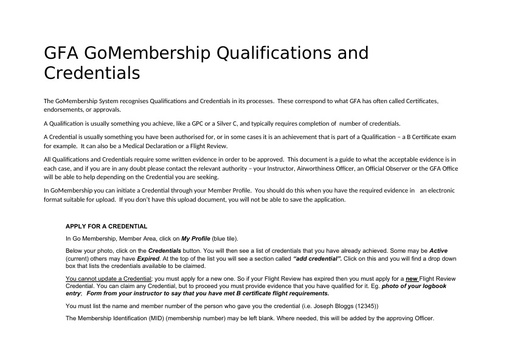 Credential and Qualification Evidence
