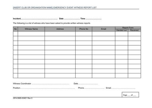 GFA SMS 004E1 ERP Witness Report List Rev 0
