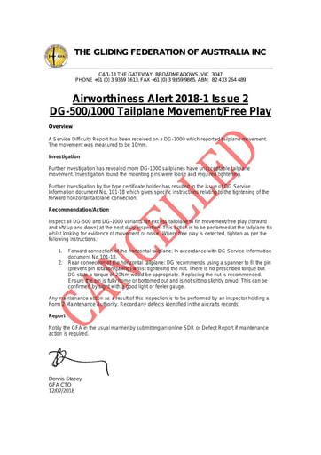 GFA AWA 2018-1 Issue 2 CANCELLED 2021.07.08 - Refer GFA AN 090/164