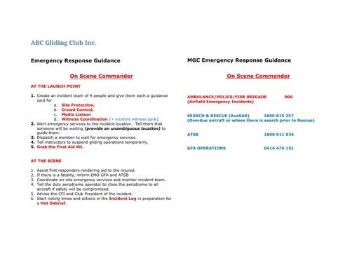 GFA SMS 004G ERP On Scene Check List