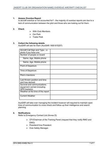 GFA SMS 004B2 ERP Overdue Aircraft Checklist Rev 0