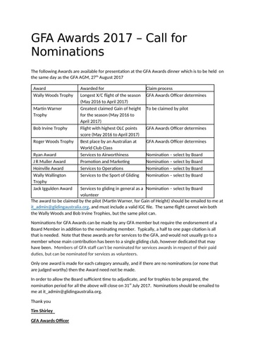 Award Nomination Procedure 2017
