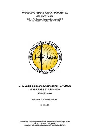 GFA Basic Sailplane Engineering - Engines & Systems V6 2018.08.29