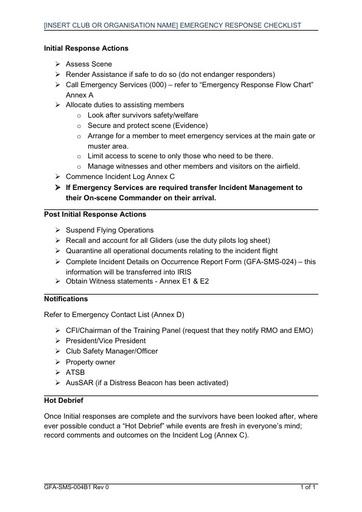 GFA SMS 004B1 ERP Emergency Response Checklist Rev 0