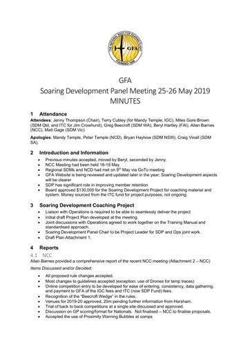 2019 May SDP MINUTES