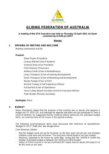 Minutes GFA Exec 2021-04-15