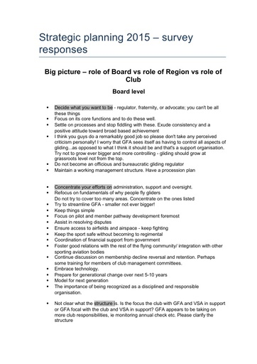 Member Survey #2 Board vs Club vs Regions