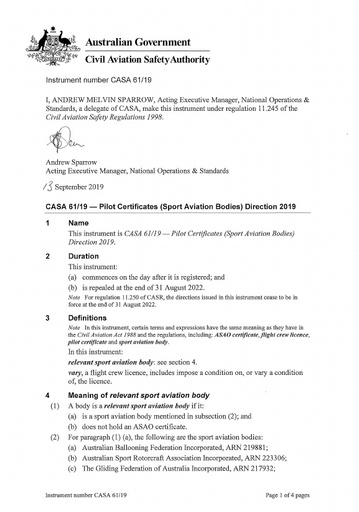 Pilot Certificates (Sport Aviation Bodies) Direction