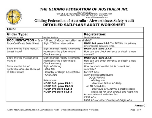 AIRW-M13v2 Annex C Sailplane Audit Worksheet (30Apr18)