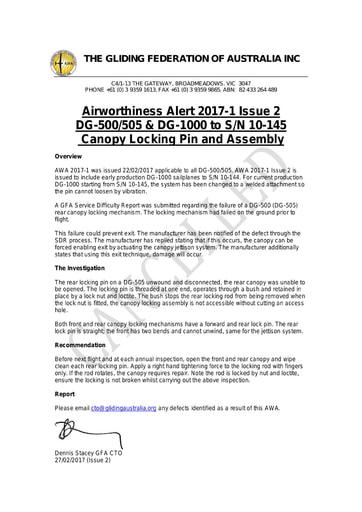 GFA AWA 2017-1 Issue 2 CANCELLED 2021.07.08 Refer GFA AN 090/164