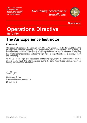 2016 - OD 01/16 The Air Experience Instructor