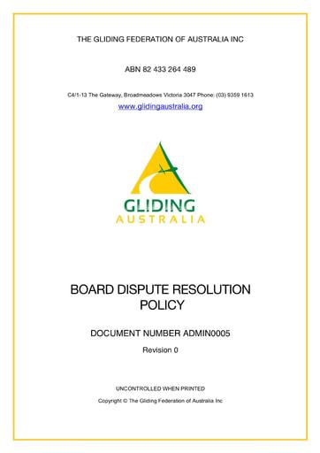 Board Dispute Resolution Policy ADMIN 0005 Rev 0