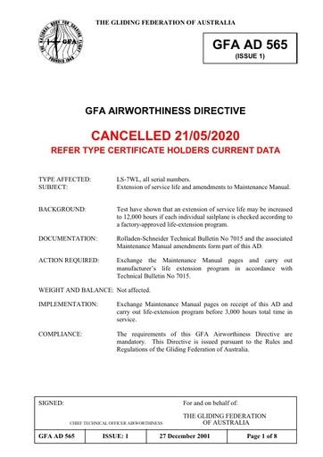 Gfa ad 565 Cancelled 2020.05.21