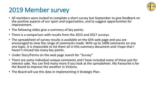 2019 Member Survey presentation