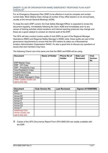 GFA SMS 004F ERP Emergency Response Audit Checklist Rev 0