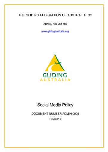 Social Media Policy ADMIN 0026 Rev 0