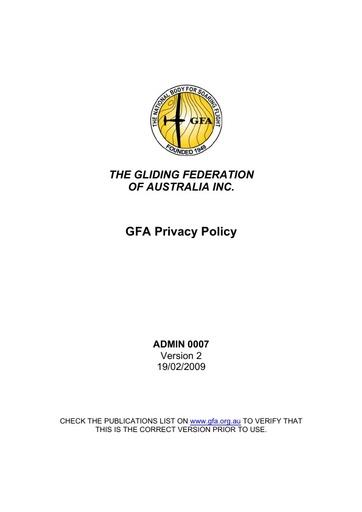 Privacy Policy V2 2009 ADMIN0007