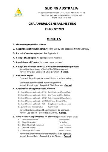 AGM 2021 Minutes