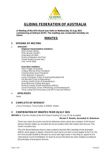 Minutes GFA Board  2021-08-31