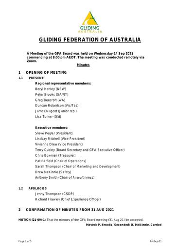 Minutes GFA Board 2021-09-14